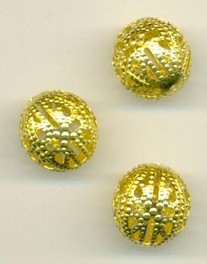 12mm Brass Filigree Beads