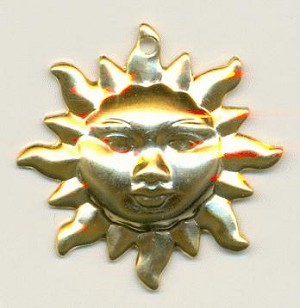 19mm Gold Sun Charms
