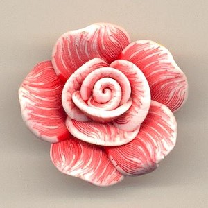 31mm Red/White Resin Flowers