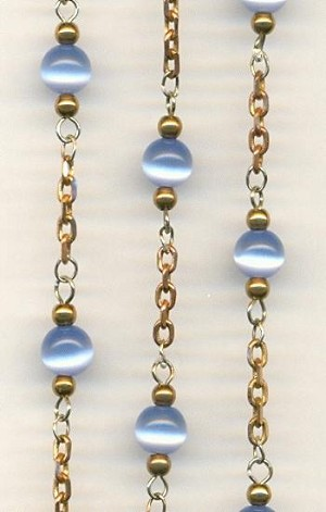 6mm Light Blue Cats Eye Chain