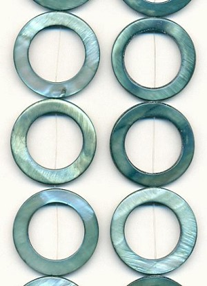 30mm Teal Shell Donut Beads