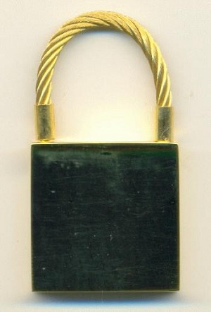 1 7/8'' Gold Colored Lock Key Chain