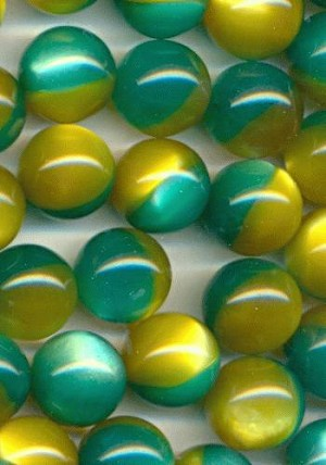 13mm Gold/Green No Hole Beads