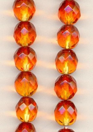 8mm Orange/Topaz Faceted Beads