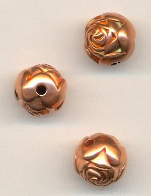 9mm Copper Plastic Rose Beads
