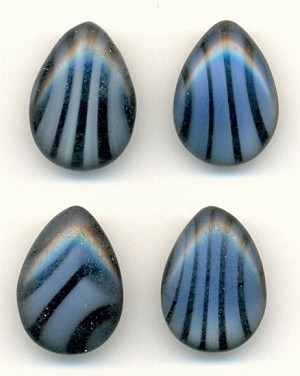 18x13mm Black/Blue Striped Pear