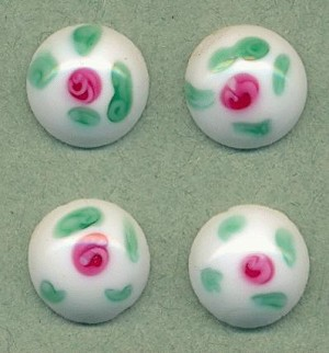 12.6mm White/Pink/Green Abstract Floral