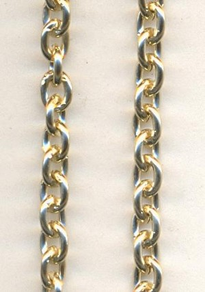 5x4mm Gold Colored Aluminum Chain