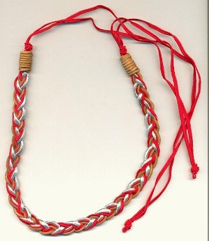 38 1/2'' Red/Silver/TanBraided Headbands