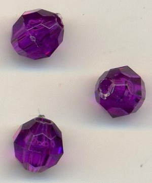 6mm Purple Faceted Acrylic Beads