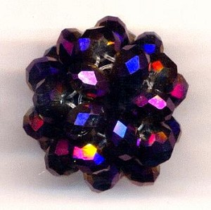 28mm Purple/Gold Woven Bead Cluster