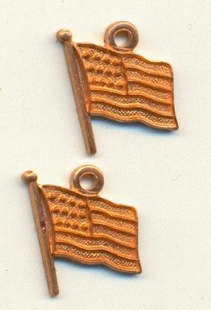 11x9mm Red Brass Flag Charms