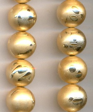 10mm Vintage Japanese Gold Painted Beads