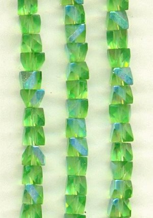 4mm Peridot AB Unusual Cut Beads