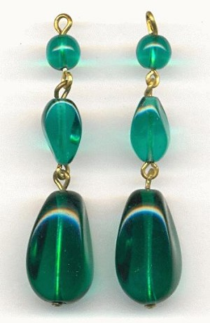 2'' Emerald Glass Bead Drops