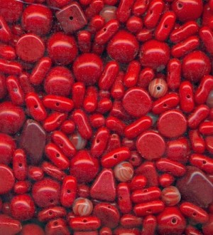 Mixed Lot Red Glass Beads
