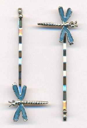 2 3/8'' Teal Enamel Dragonfly Bobby Pins