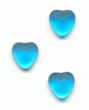 4mm Frosted Aqua FB Hearts