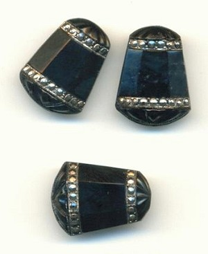 16x12mm Black Marcasite Bell Stone