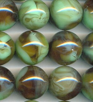 24mm Green Brown Swirled Acrylic Beads