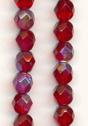 6mm Siam Ruby AB Faceted Glass Beads