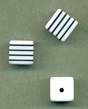 11mm Black White Striped Cube Beads