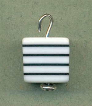 11mm Black White Striped Cube Bead/Drop