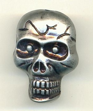 36x27mm Silver Acrylic Skull Beads