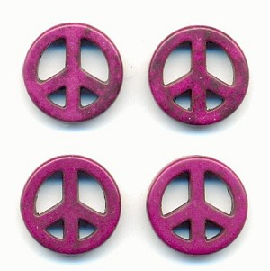 15mm Violet Magnesite Peace Beads