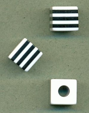 10mm Black White Striped Cube Beads