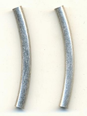 40x4mm Curved Silver Metal Tube Bead