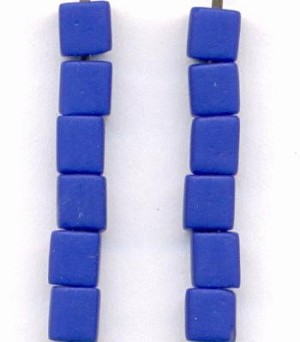 4mm Mixed Blue Glass Cube Beads