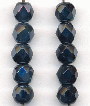 6mm Hematite Faceted Glass Beads