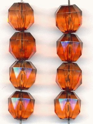 12mm Madeira Topaz Acrylic Faceted Beads