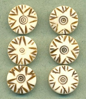 15mm Carved Bone Beads