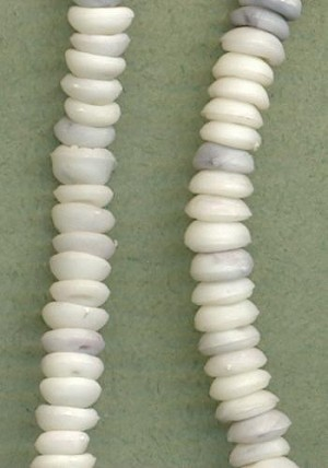 7x3mm White & Grey Plastic Beads