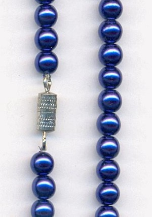 21'' Royal Blue Glass Pearl Necklace