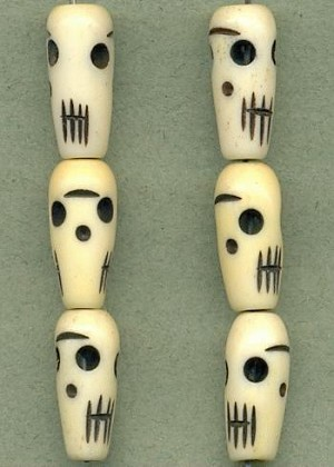 19x8mm Black White Carved Bone Skulls