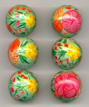 24mm Floral Painted Wooden Beads