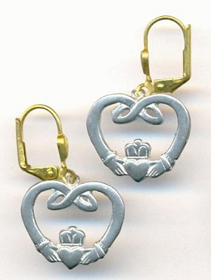 30x18mm Claddagh Lever Back Earrings