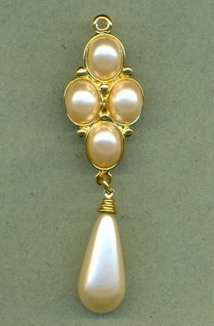 68x18mm GP Off-White Pearl Drop Pendant