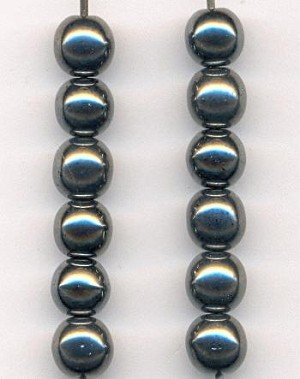 6mm Hematite Glass Beads