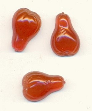 12x8mm Carnelian Glass Pear Stones