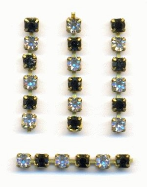 2.5mm Crystal Jet Rhinestone Chain Parts