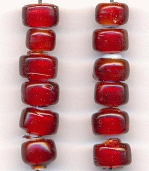 8x5mm Ruby White Glass Beads
