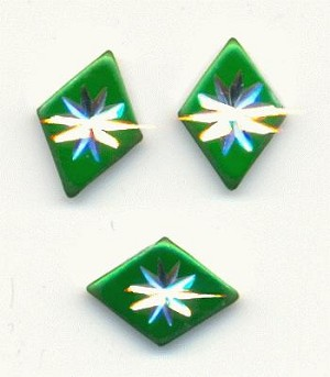 10x7mm Green Silver Starburst Stones