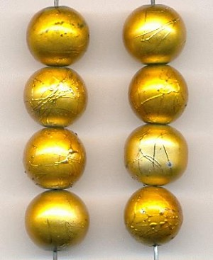 12mm Gold Painted Glass Beads