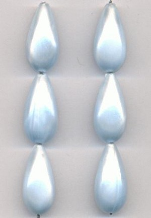 20x10mm Light Blue Pearl Acrylic Beads