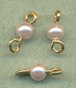 10x4mm LT Pink Pearl Bead Connectors