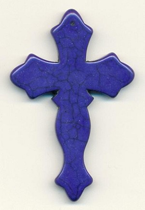78x51mm Royal Blue Howlite Cross